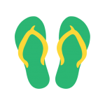 green flip flops with yellow